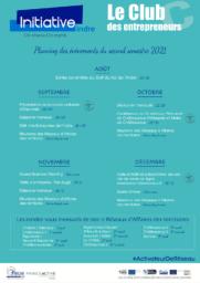 Planning du second semestre du Club des entrepreneurs de l'Indre 2021
