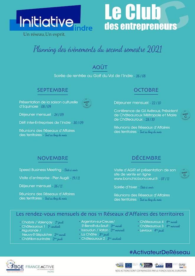 Planning des évènements du second semestre 2021